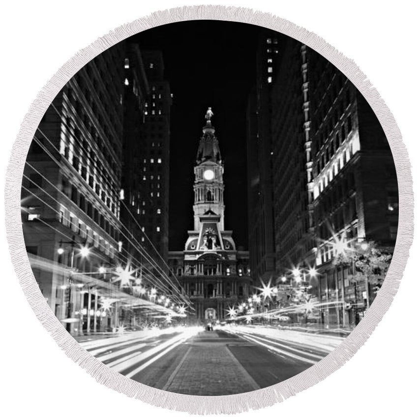 America Round Beach Towel featuring the photograph Philadephia City Hall -- Black And White by Stephen Stookey