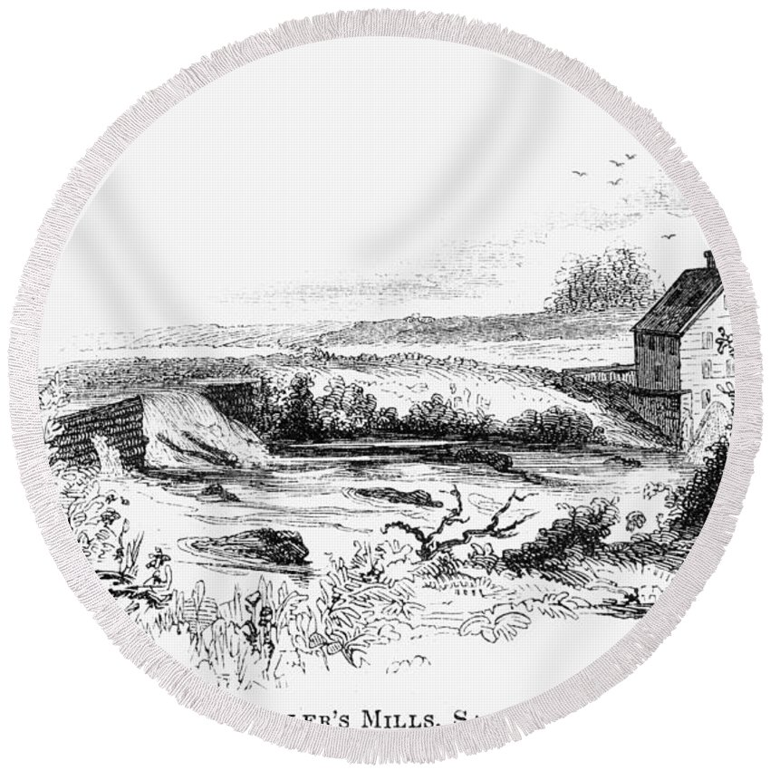 18th Century Round Beach Towel featuring the painting Philip Schuyler Mill by Granger