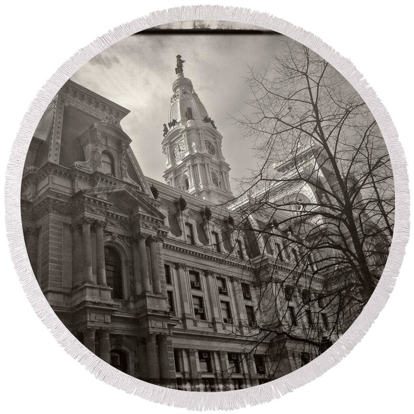 City Hall Round Beach Towel featuring the photograph Philly City Hall by Alice Gipson