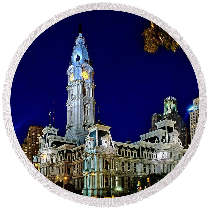 Philadelphia Round Beach Towel featuring the photograph Philly City Hall At Night by Nick Zelinsky