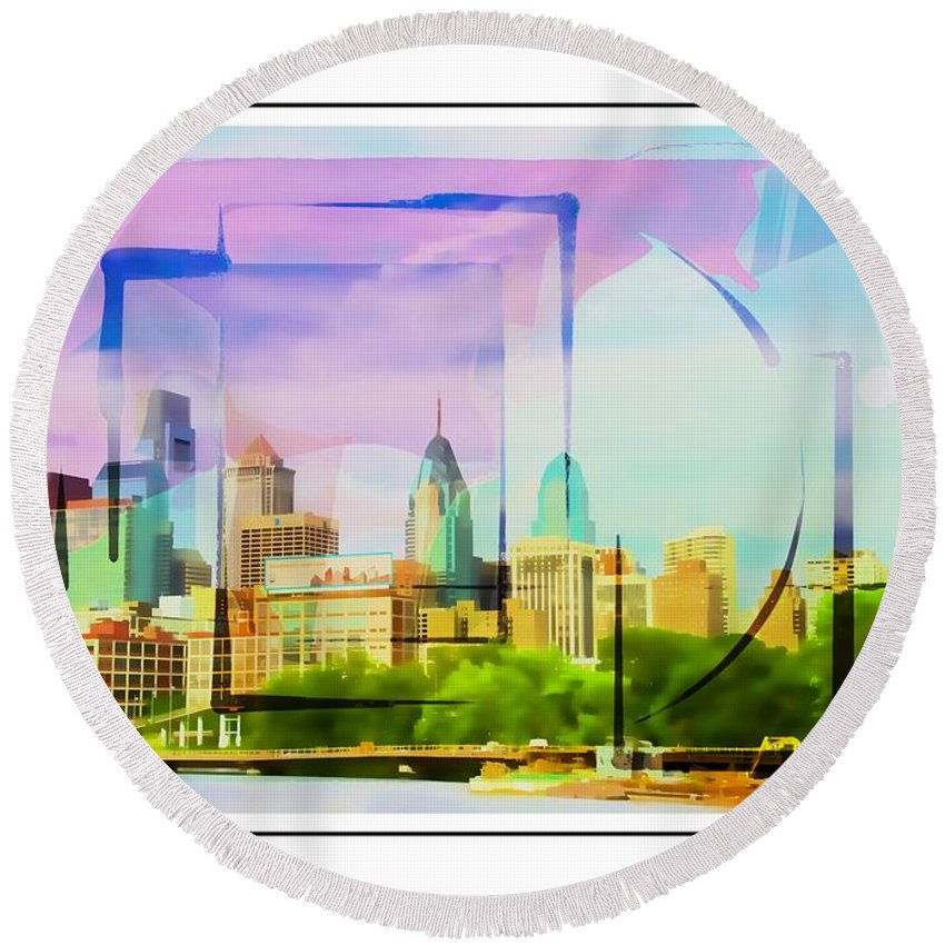 Philly Round Beach Towel featuring the photograph Philly Colours by Alice Gipson