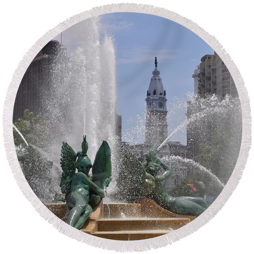 Philly Fountain Round Beach Towel featuring the photograph Philly Fountain by Bill Cannon