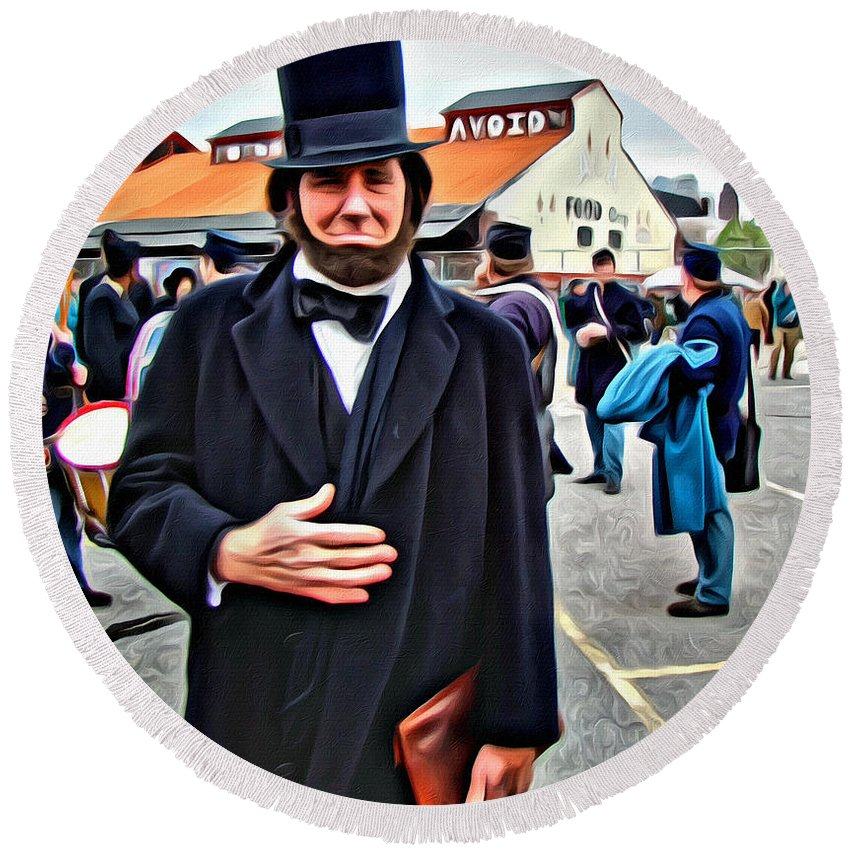 Lincoln Philadelphia Parade 150th Anniversary Civil War Alicegipsonphotographs Round Beach Towel featuring the photograph Philly Lincoln by Alice Gipson