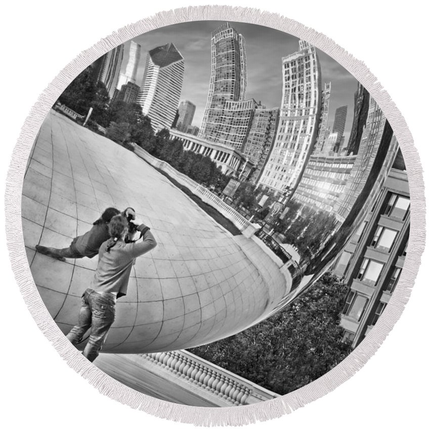 Cloud Gate Round Beach Towel featuring the photograph Photographing The Bean - Cloud Gate - Chicago by Nikolyn McDonald