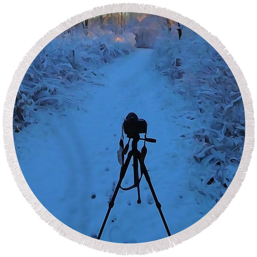 Photography In The Winter Round Beach Towel featuring the photograph Photography In The Winter by Dan Sproul