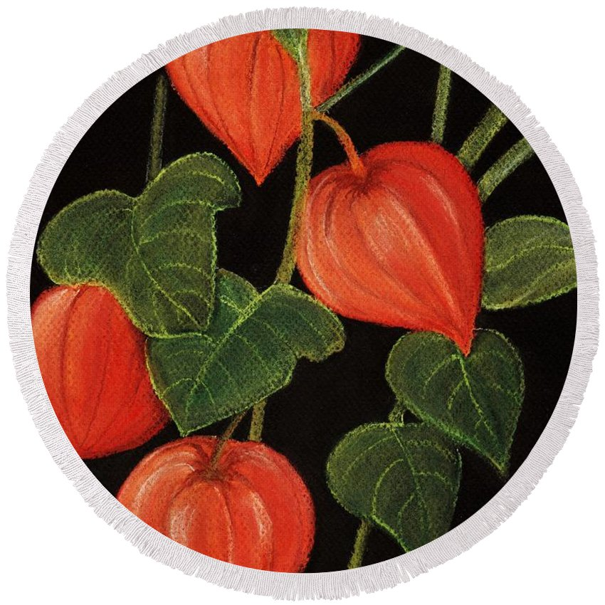 Plant Round Beach Towel featuring the painting Physalis by Anastasiya Malakhova