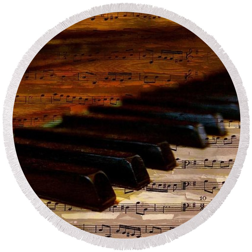 Symbol Round Beach Towel featuring the photograph Piano And Music by FL collection