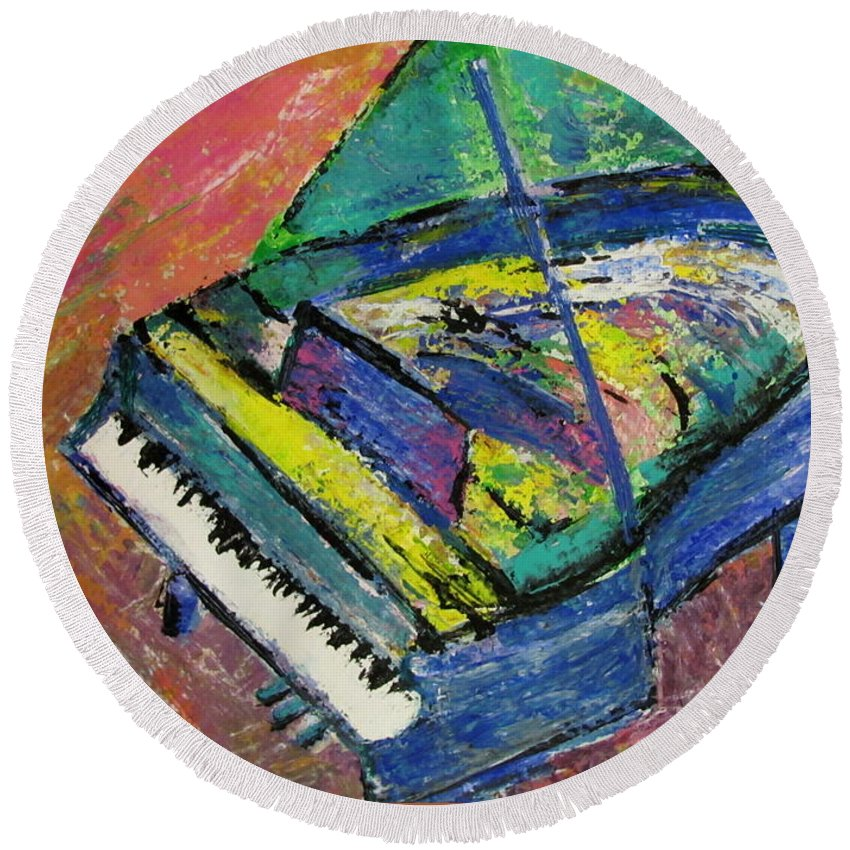 Piano Round Beach Towel featuring the painting Piano Blue by Anita Burgermeister