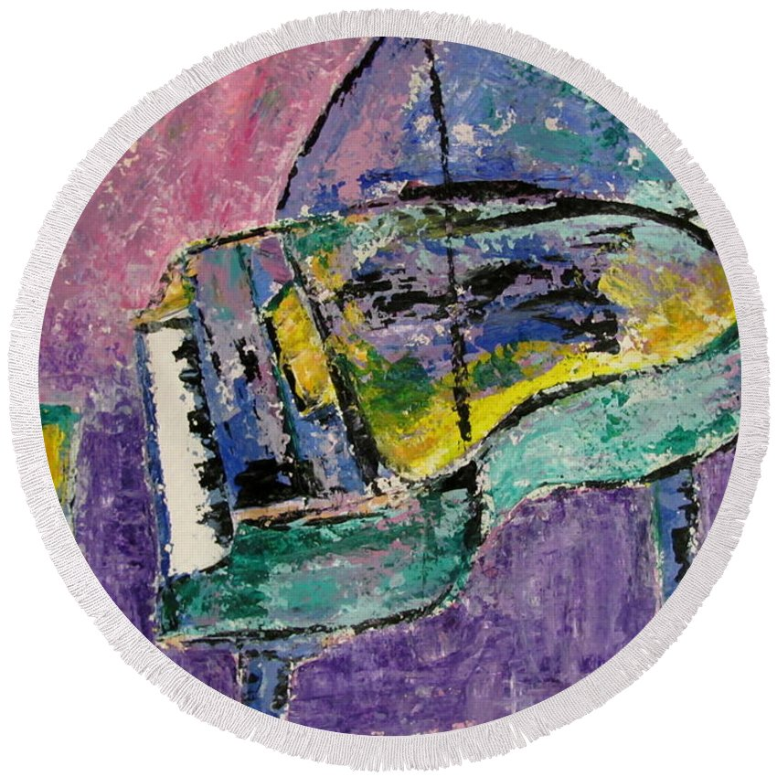 Impressionist Round Beach Towel featuring the painting Piano Green by Anita Burgermeister