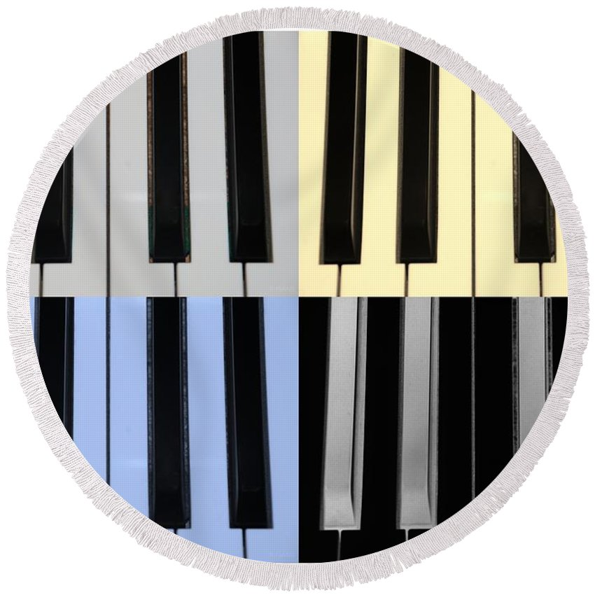 Piano Round Beach Towel featuring the photograph Piano Keys In Quad Colors by Rob Hans