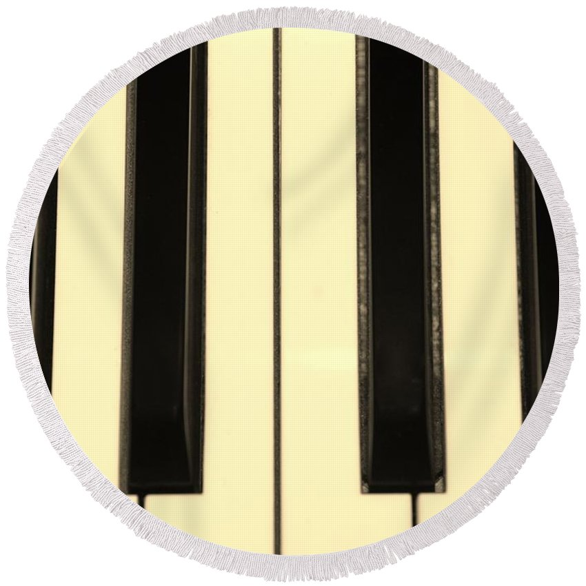 Piano Round Beach Towel featuring the photograph Piano Keys In Sepia by Rob Hans