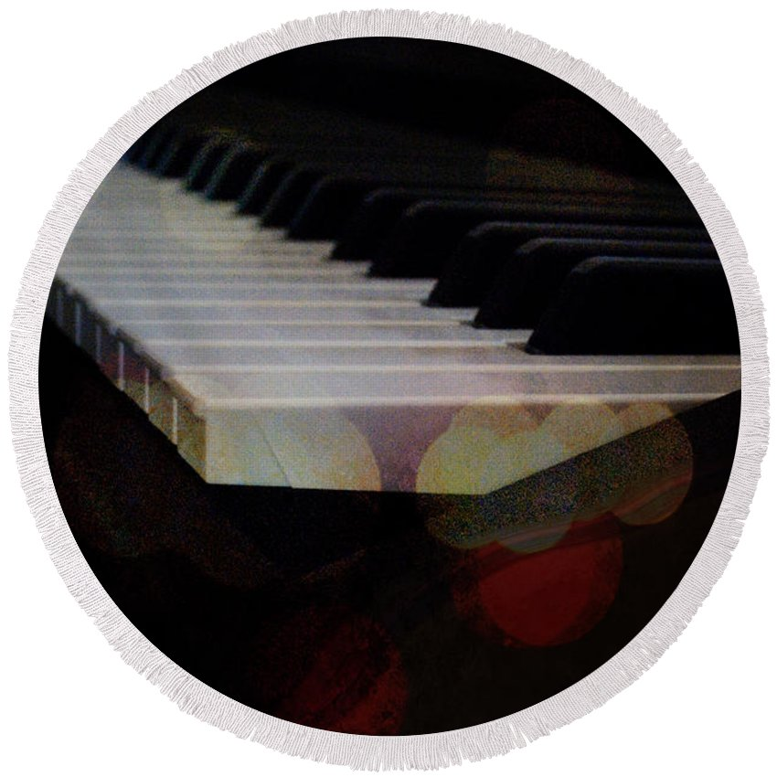 Featured Round Beach Towel featuring the photograph Piano Magic by Paulette B Wright