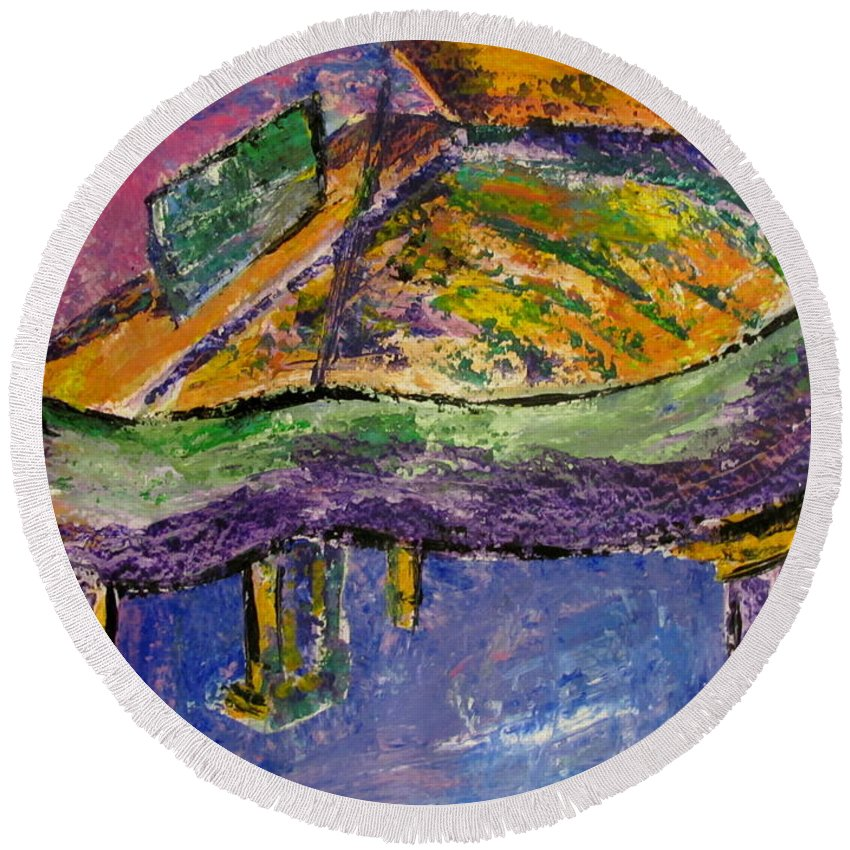 Impressionist Round Beach Towel featuring the painting Piano Purple by Anita Burgermeister