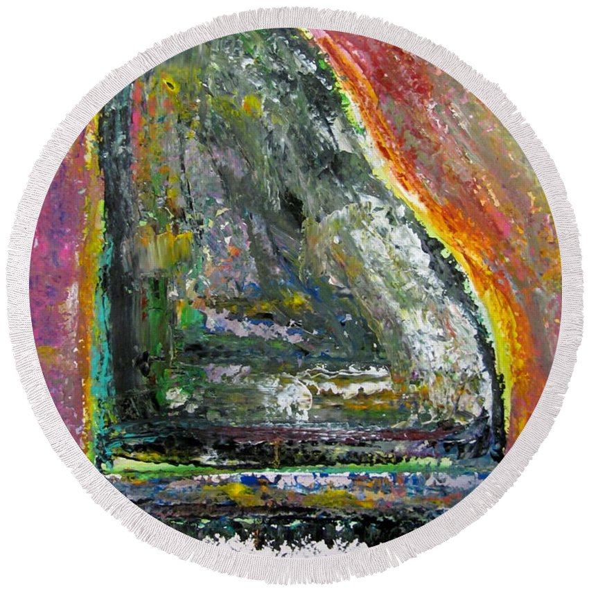 Impressionist Round Beach Towel featuring the painting Piano Red by Anita Burgermeister