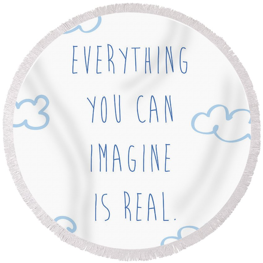 Picasso Round Beach Towel featuring the digital art Picasso Quote by Gina Dsgn