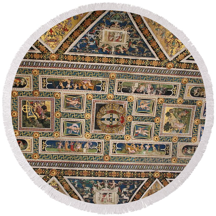 Ceiling Round Beach Towel featuring the photograph Piccolomini Bibliotheca - Siena by Christiane Schulze Art And Photography