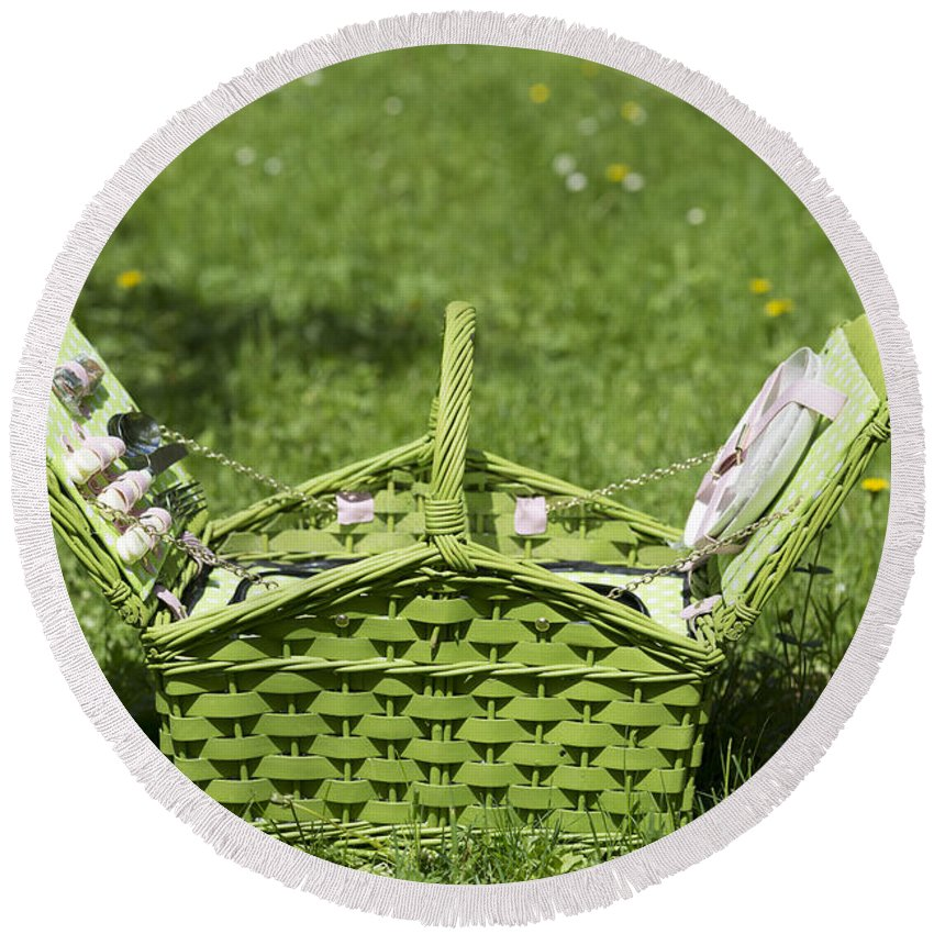Picnic Basket Round Beach Towel featuring the photograph Picnic Basket by Mats Silvan