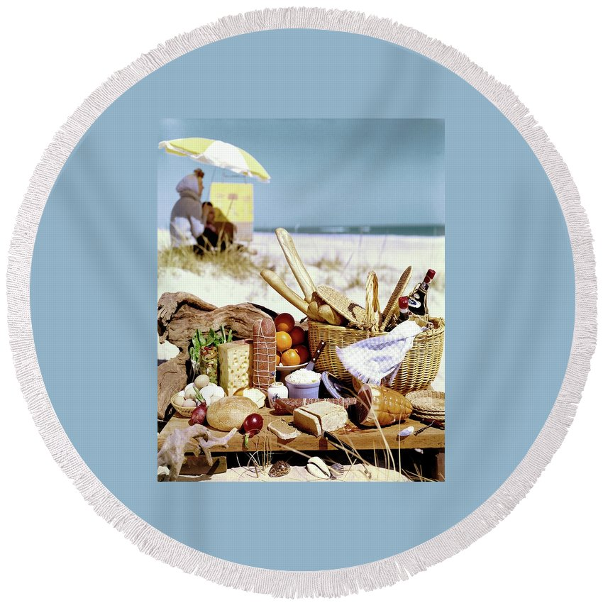 Still Life Round Beach Towel featuring the photograph Picnic Display On The Beach by Stan Young