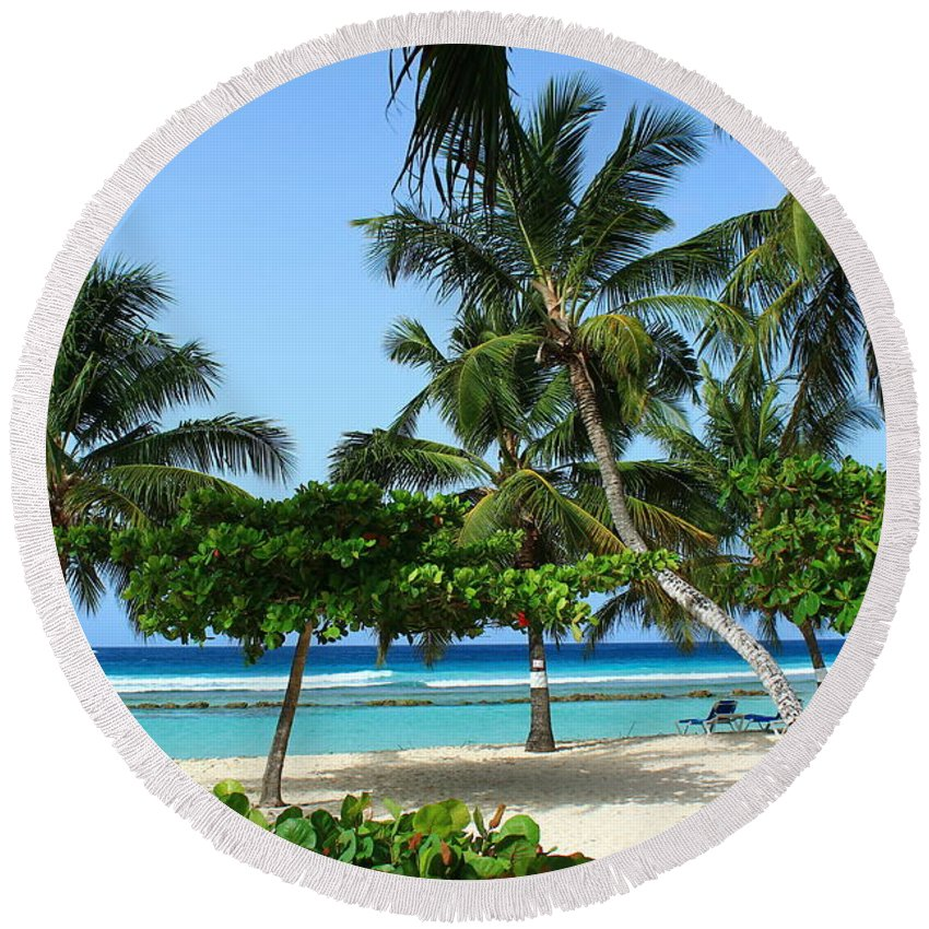 Barbados Round Beach Towel featuring the photograph Picnic Here by Catie Canetti