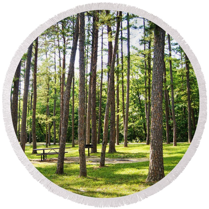 picnic In The Pines Round Beach Towel featuring the photograph Picnic In The Pines by Cricket Hackmann