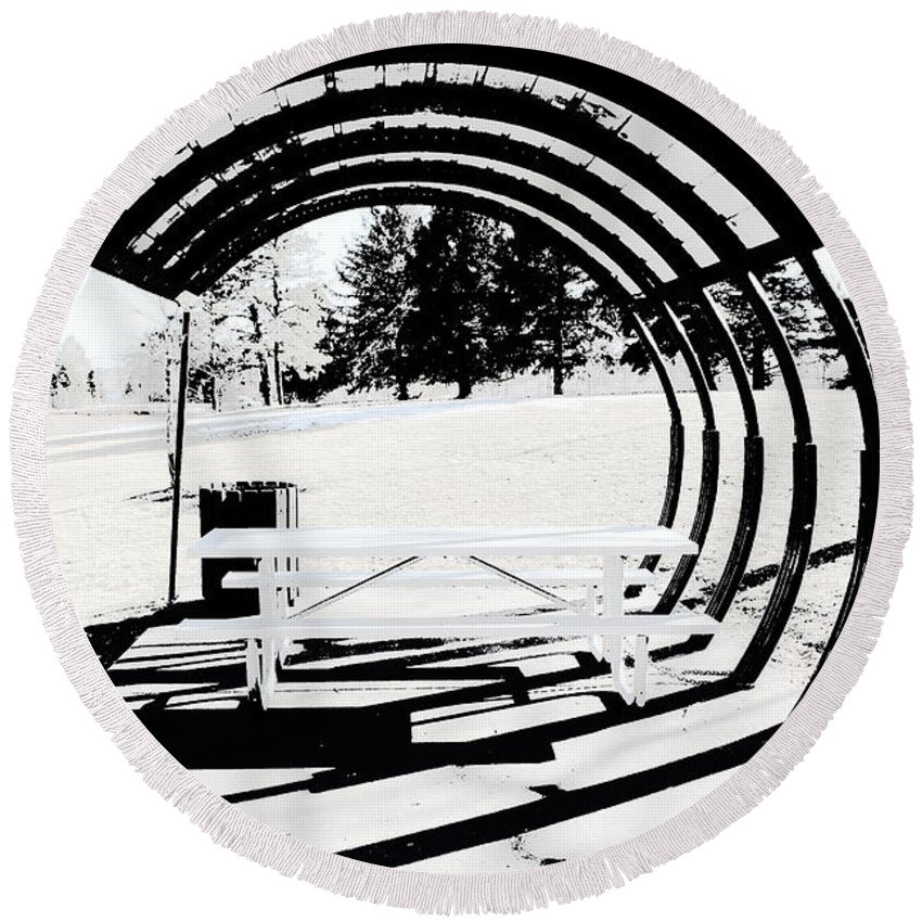 Park Bench Round Beach Towel featuring the photograph Picnic Table And Gazebo by Ric Bascobert