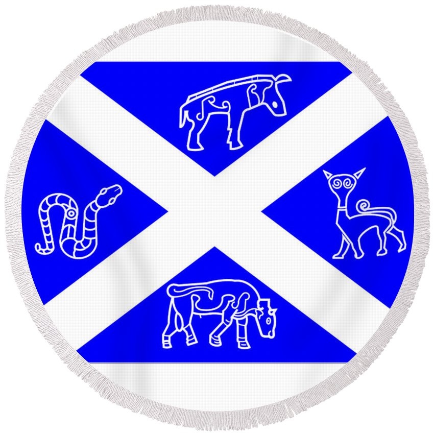 Pictish Round Beach Towel featuring the digital art Pictish Scotland Flag 2 by Frederick Holiday