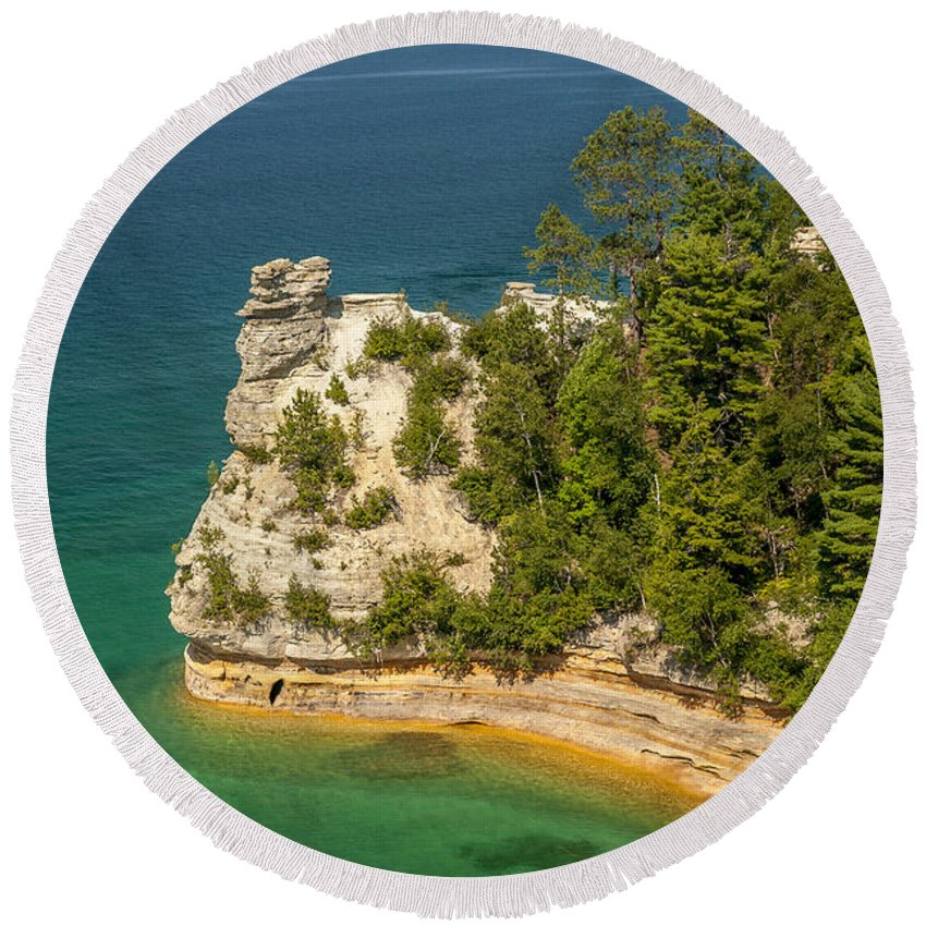 Pictured Rocks National Lakeshore Round Beach Towel featuring the photograph Pictured Rocks National Lakeshore by Sebastian Musial