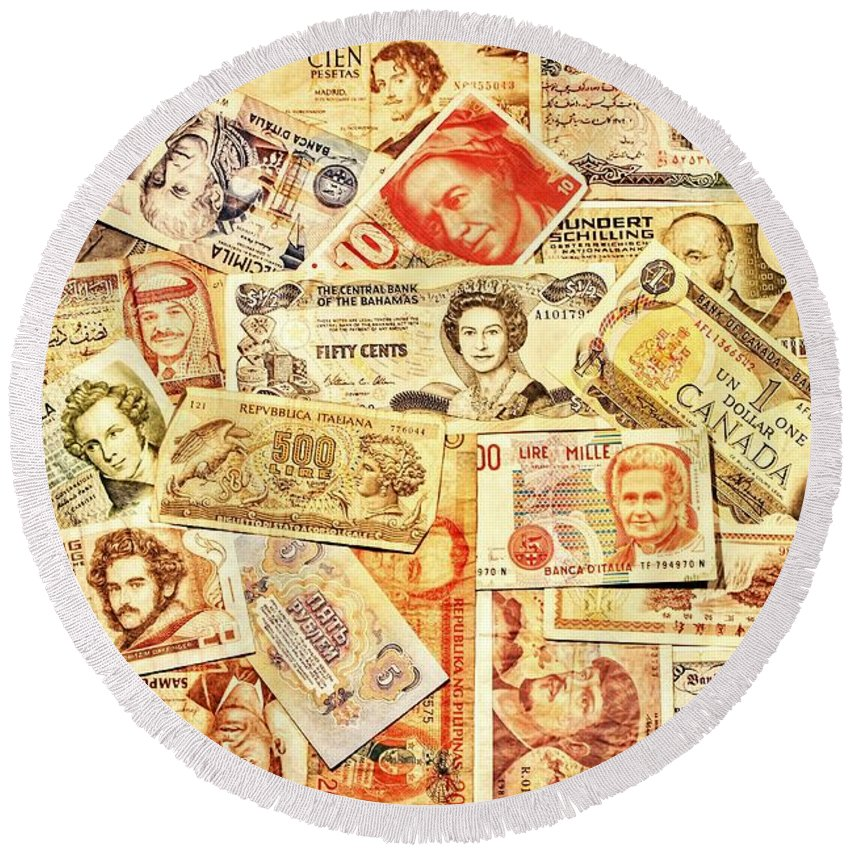 Money Round Beach Towel featuring the photograph Pieces Of Paper by Benjamin Yeager