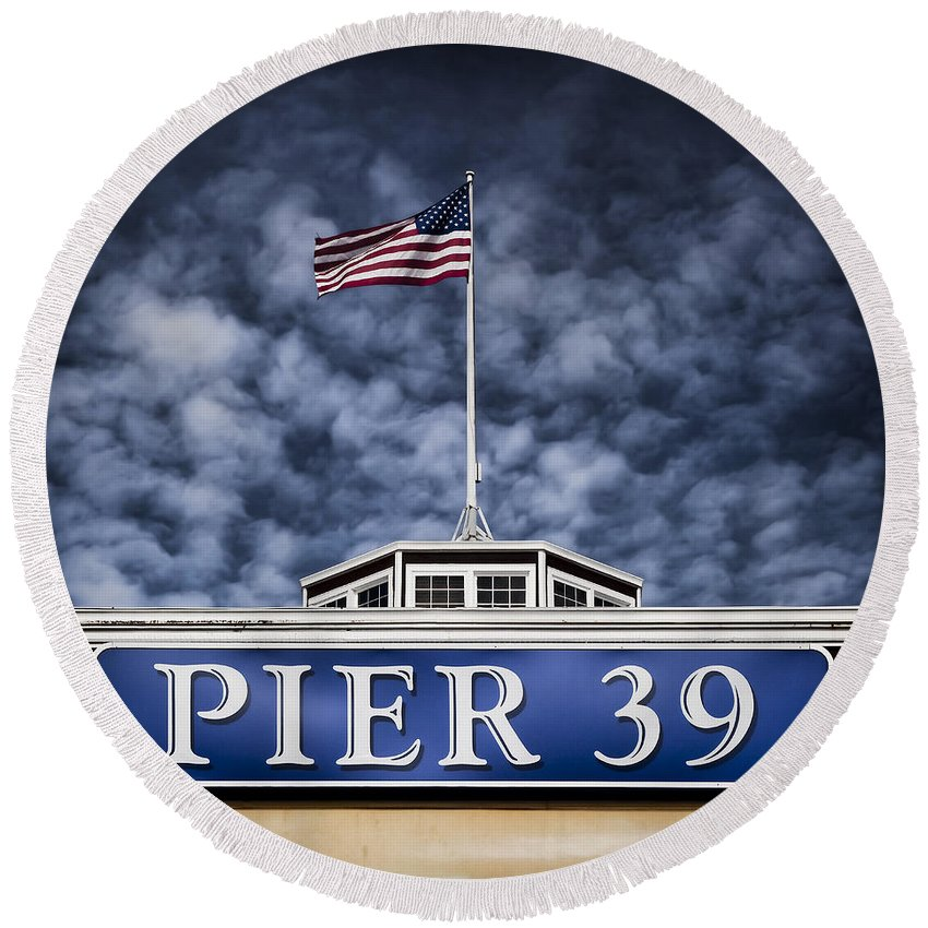 Pier 39 Round Beach Towel featuring the photograph Pier 39 by Dave Bowman