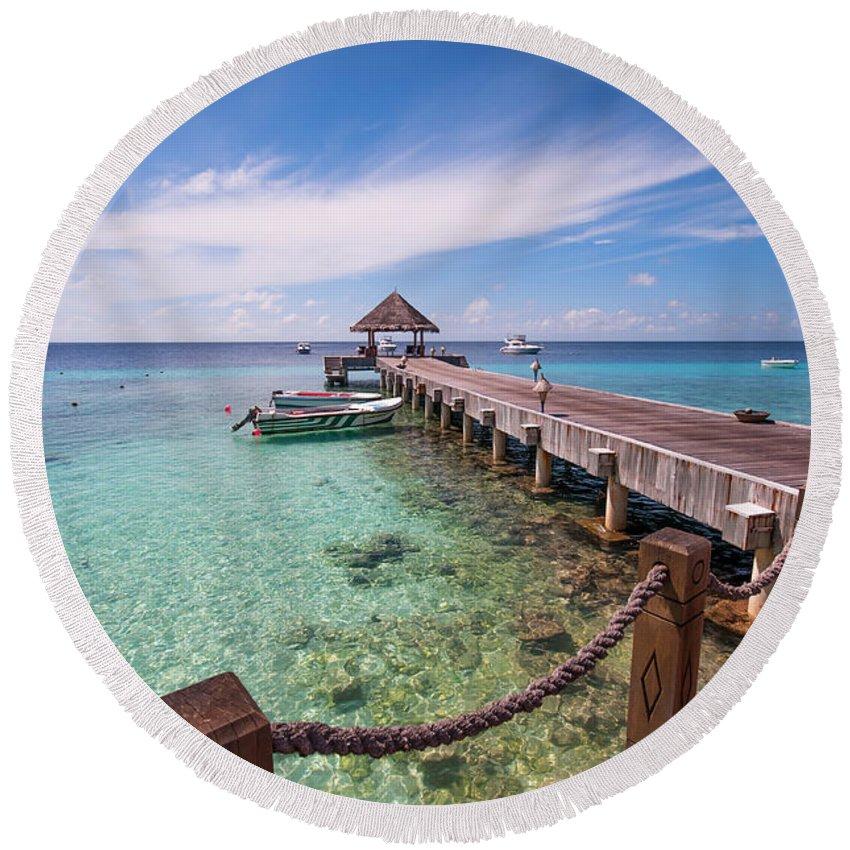 Exotic Round Beach Towel featuring the photograph Pier Into Blue. Resort Vivanta By Taj by Jenny Rainbow