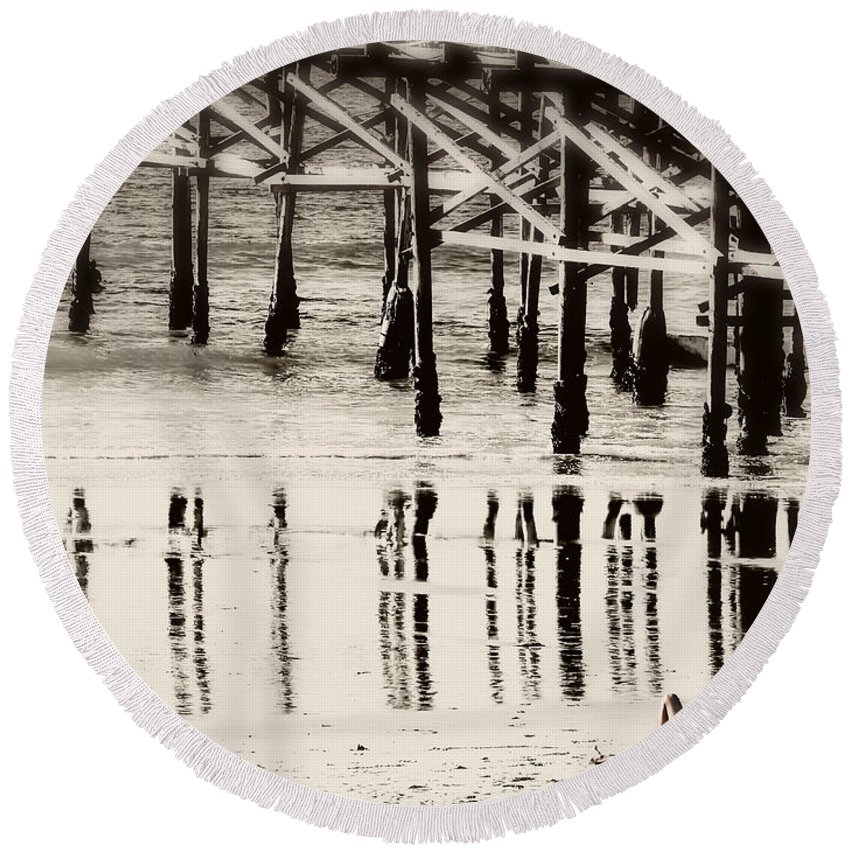San Diego Round Beach Towel featuring the photograph Pier Reflections by Claude LeTien