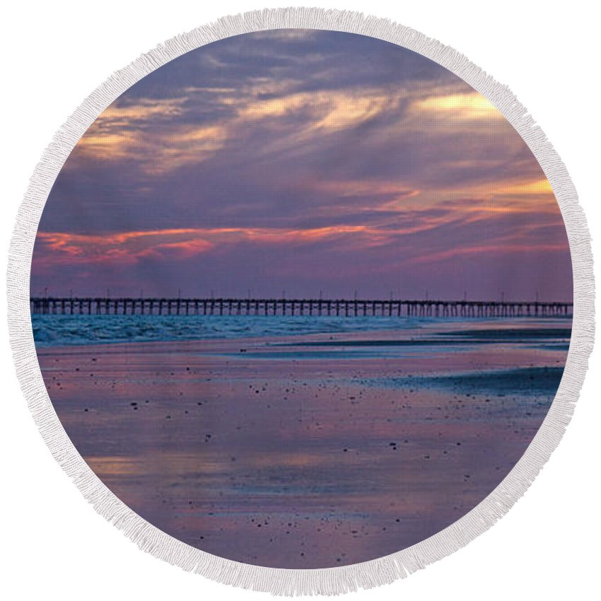 Topsail Round Beach Towel featuring the photograph Pier Sunset by Betsy Knapp