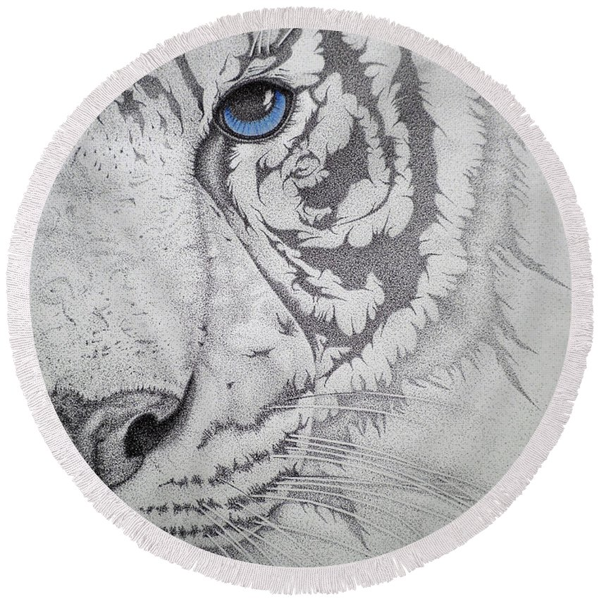 Tigers Paintings Round Beach Towel featuring the drawing Piercing II by Mayhem Mediums