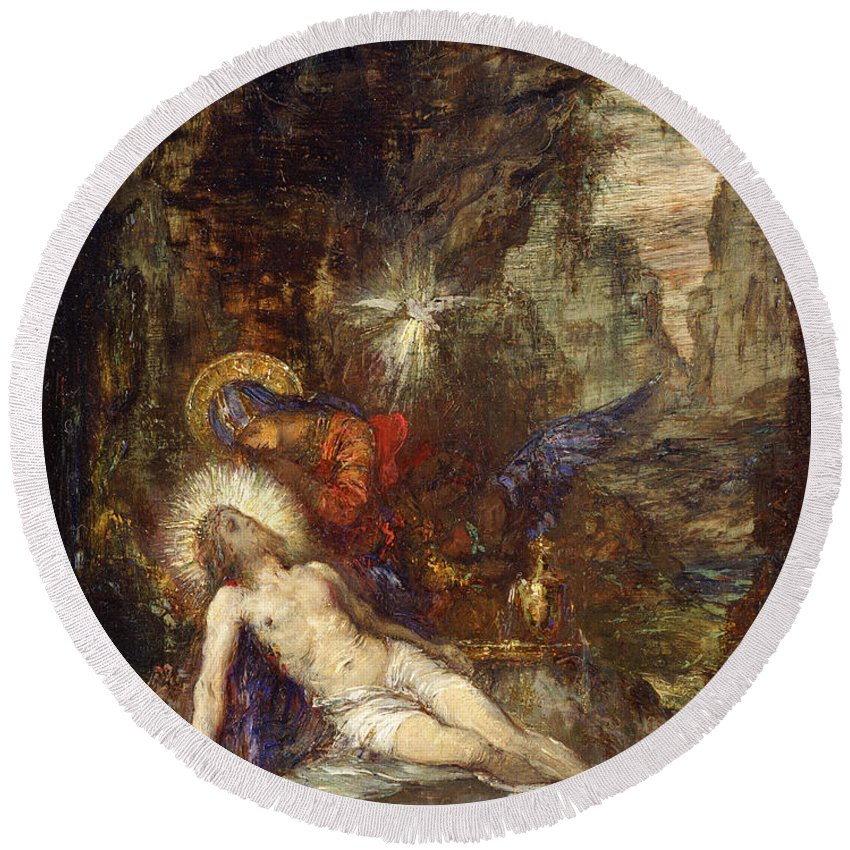 Gustave Moreau Round Beach Towel featuring the painting Pieta by Gustave Moreau