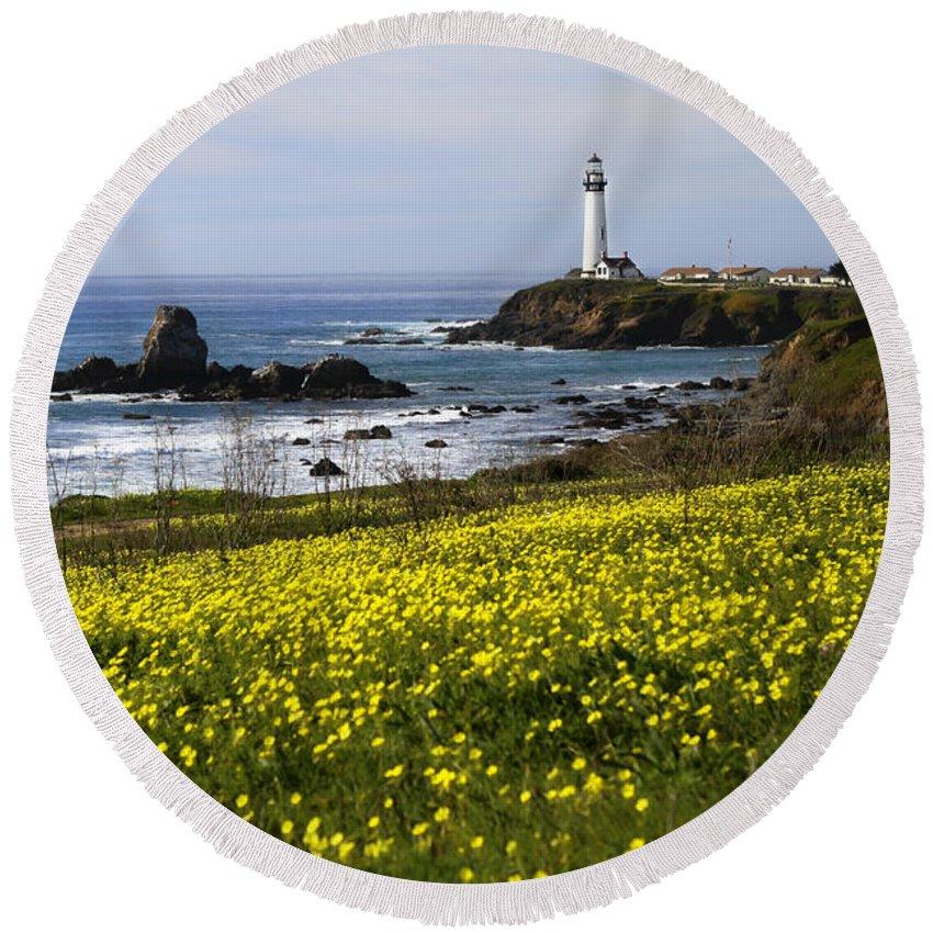 California Round Beach Towel featuring the photograph Pigeon Point Lighthouse by Jennifer Ramirez