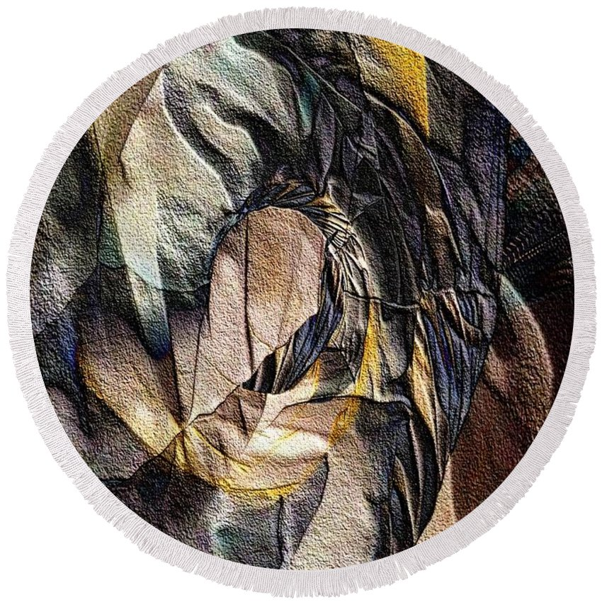 Abstract Round Beach Towel featuring the digital art Pigmented Sandstone by Ron Bissett
