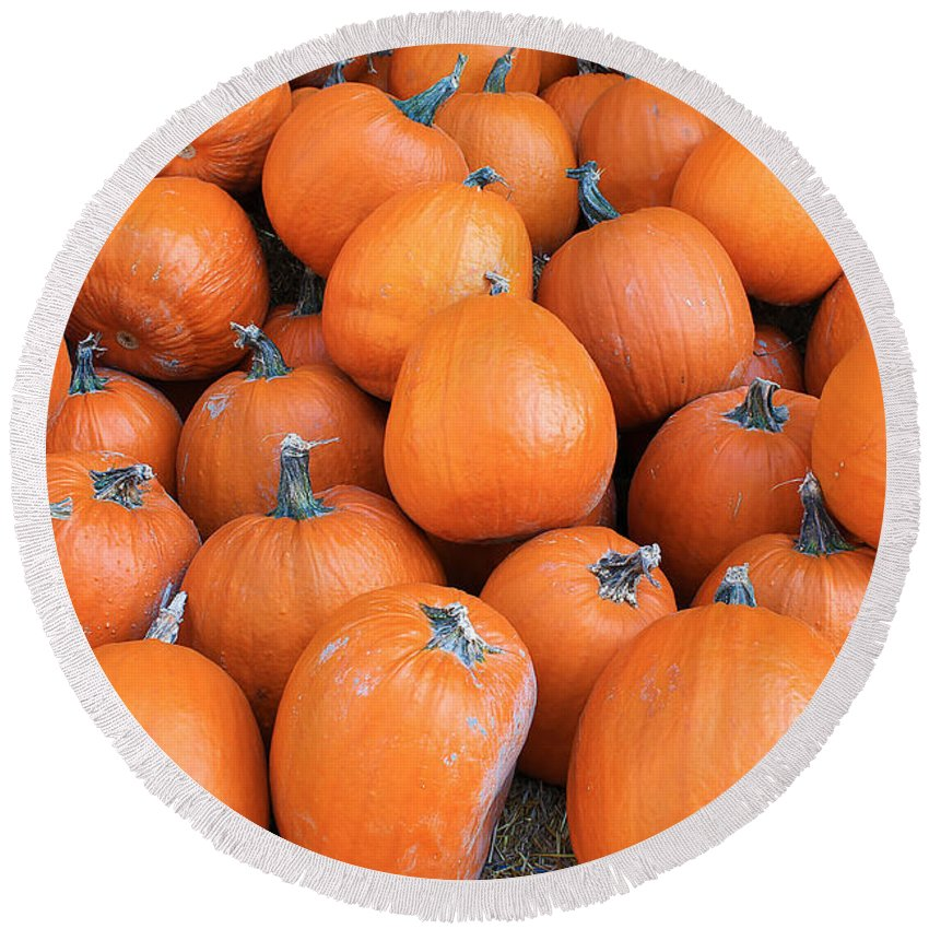 Orange Round Beach Towel featuring the photograph Piles Of Pumpkins by Nina Silver