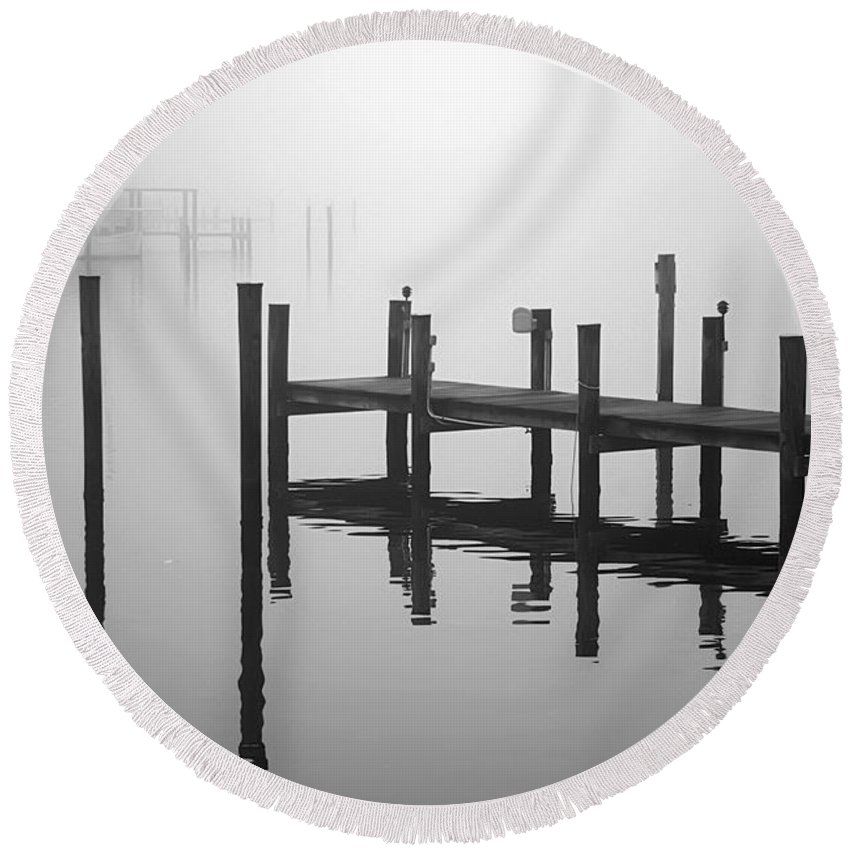 2d Round Beach Towel featuring the photograph Pilings In The Fog by Brian Wallace