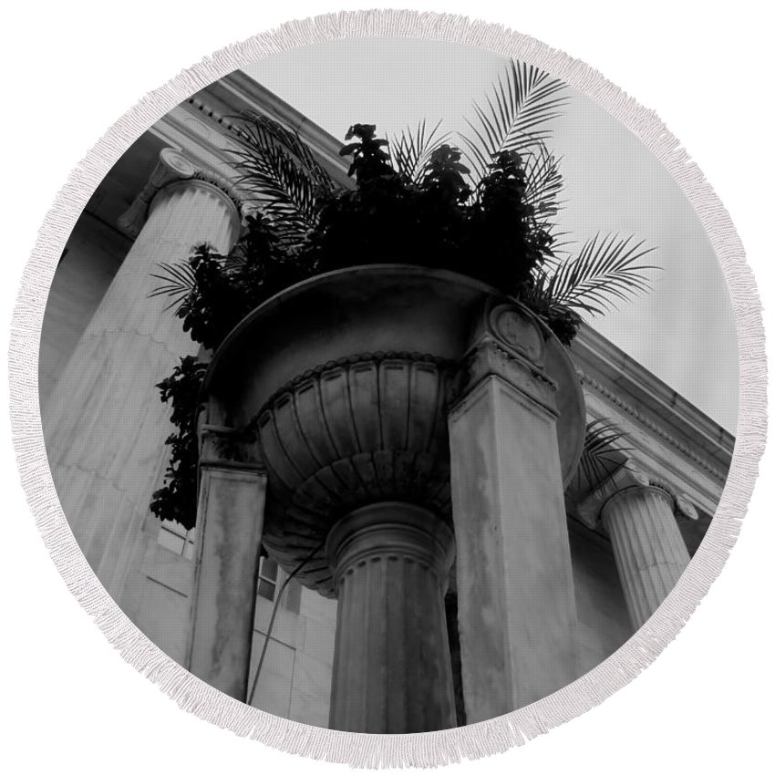 Round Beach Towel featuring the photograph Pillars Upon Pillars by Cathy Anderson