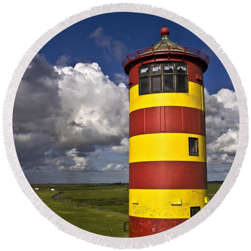 Heiko Round Beach Towel featuring the photograph Pilsum Lighthouse by Heiko Koehrer-Wagner