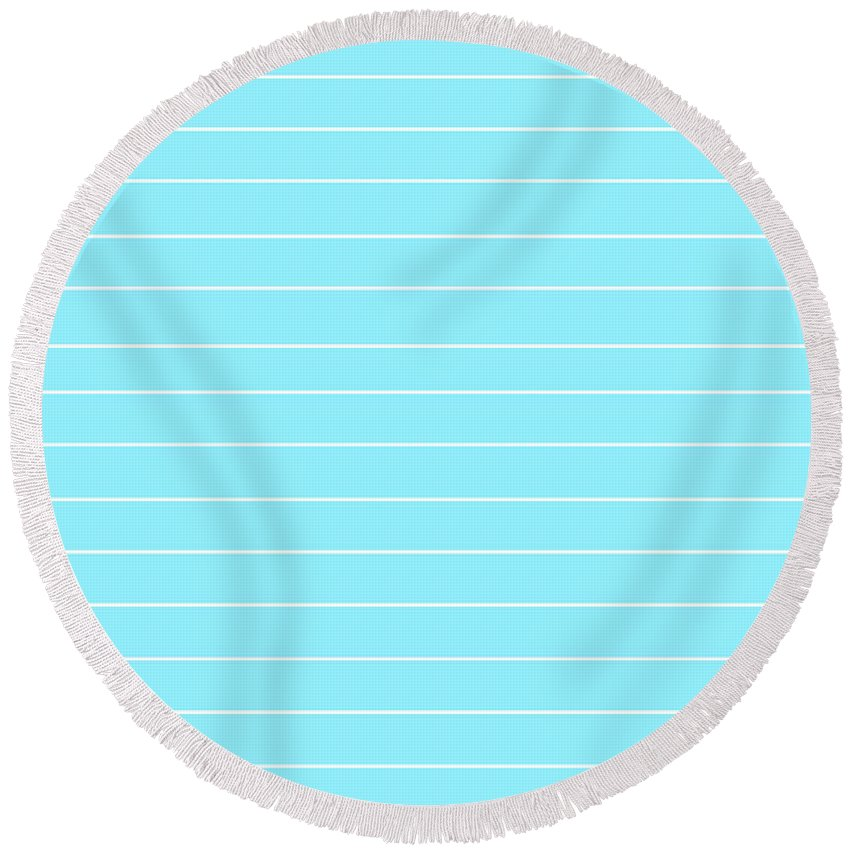 Pin Striped Round Beach Towel featuring the digital art Pin Striped by Chastity Hoff