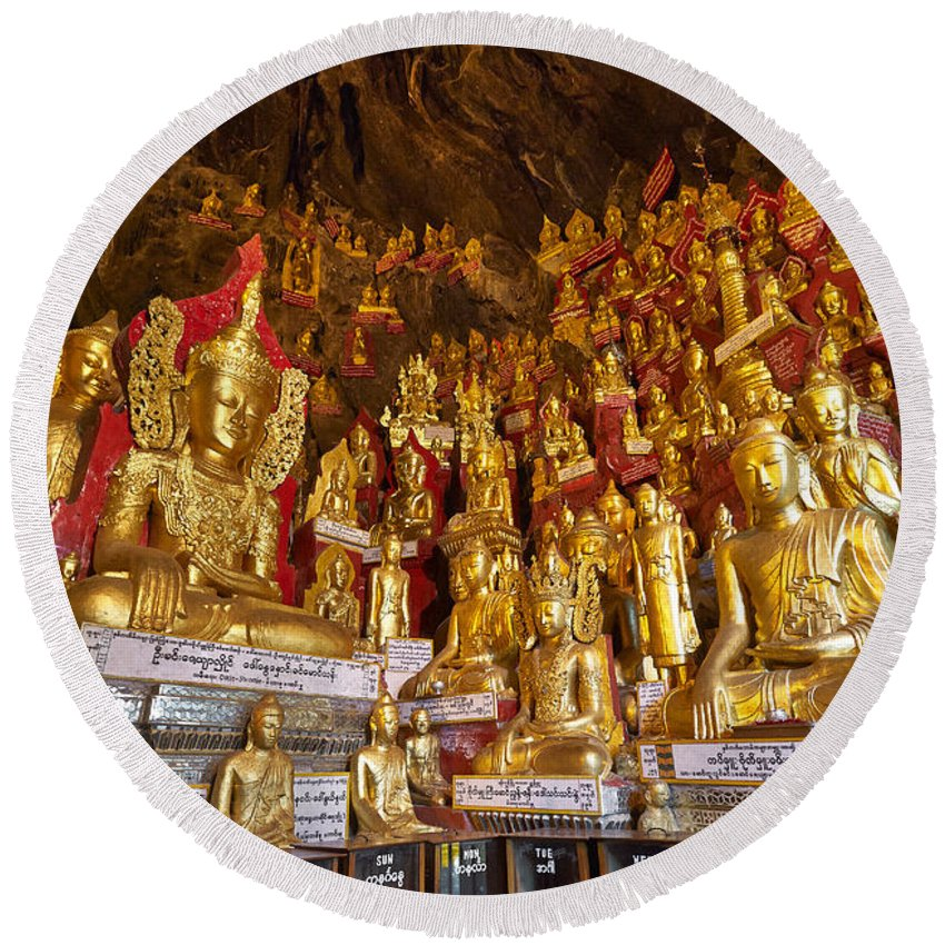 Myanmar Round Beach Towel featuring the photograph Pindaya Cave With More Than 8000 Buddha Statues Myanmar by Juergen Ritterbach