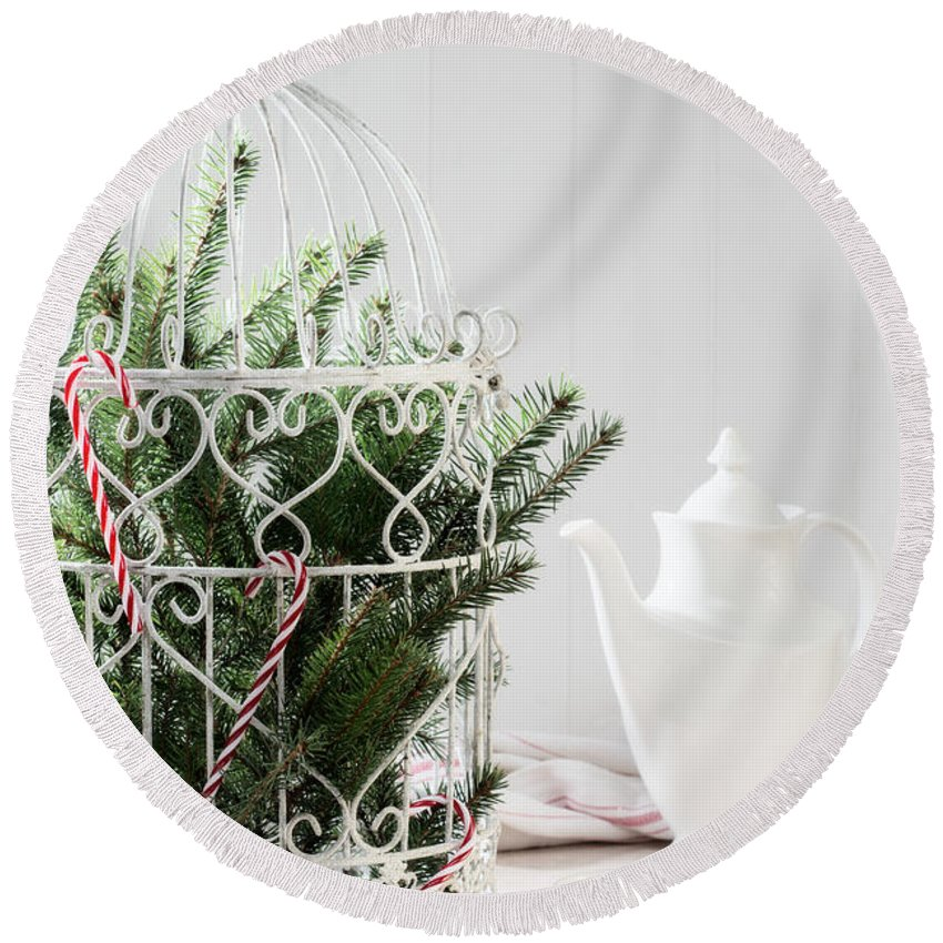 Christmas Round Beach Towel featuring the photograph Pine Branches Birdcage by Amanda Elwell