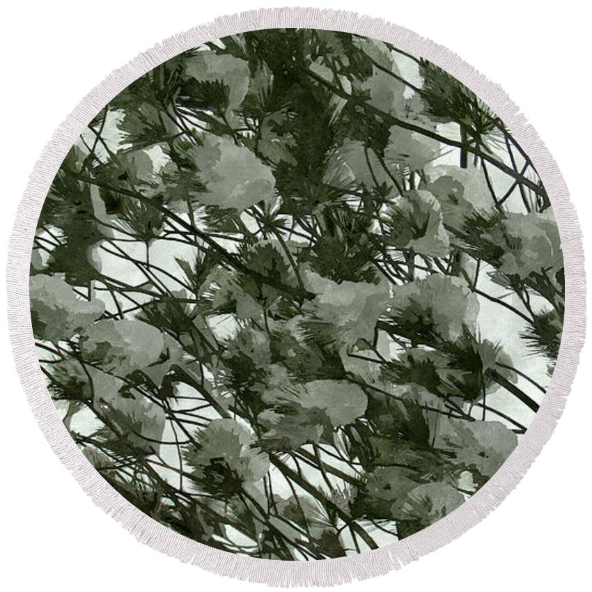 Background Round Beach Towel featuring the photograph Pine Tree Branches Covered With Snow by Jeelan Clark