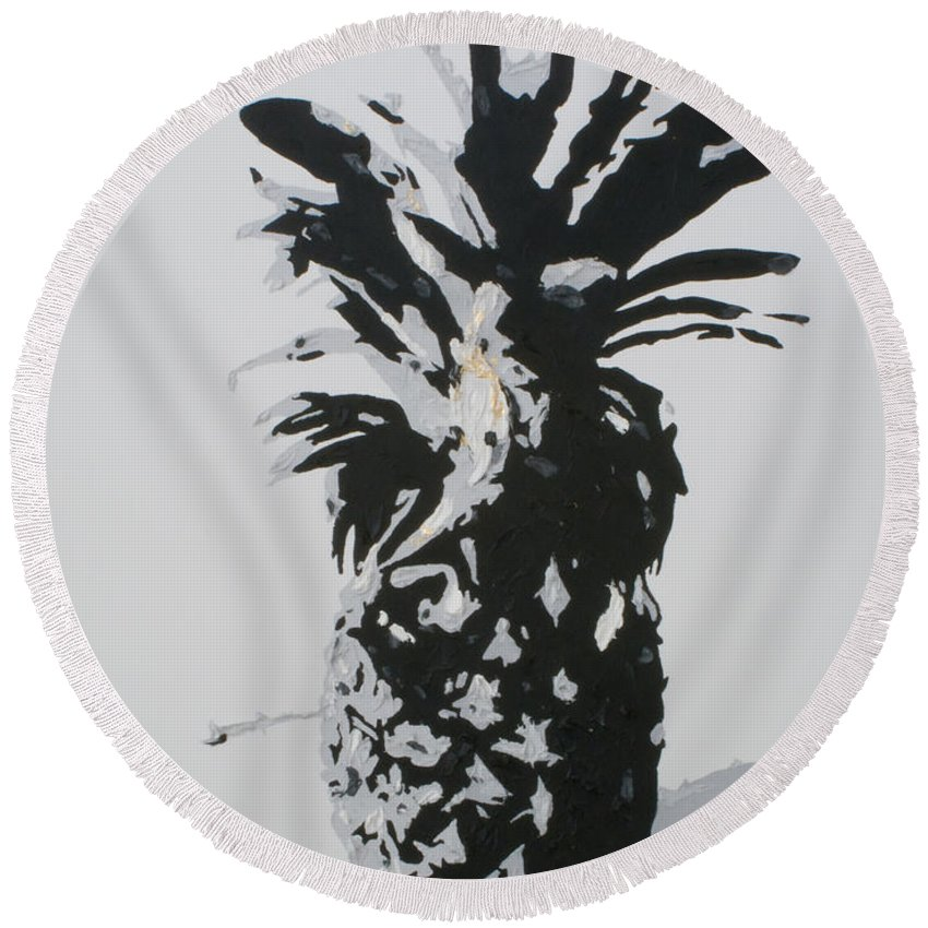 Pineapple Round Beach Towel featuring the painting Pineapple by Katharina Filus