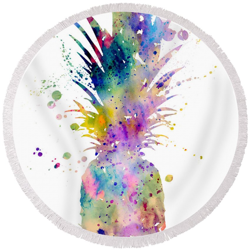 Pineapple Watercolor Print Round Beach Towel featuring the painting Pineapple by Watercolor Girl