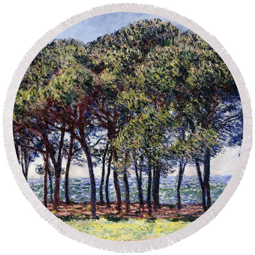 1880s Round Beach Towel featuring the painting Pines by Claude Monet