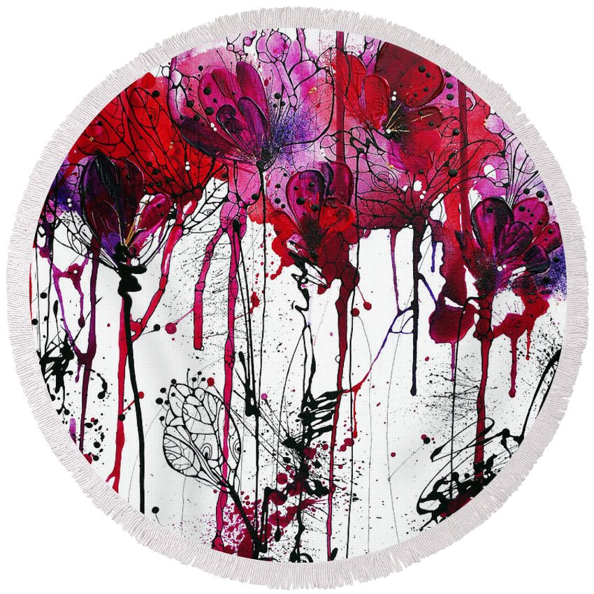 Pink Flowers Round Beach Towel featuring the painting Pink 2 by Irina Rumyantseva