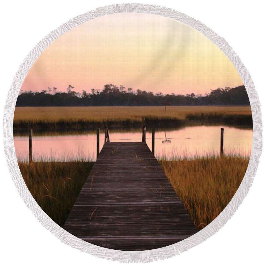 Pink Round Beach Towel featuring the photograph Pink And Orange Morning On The Marsh by Nadine Rippelmeyer