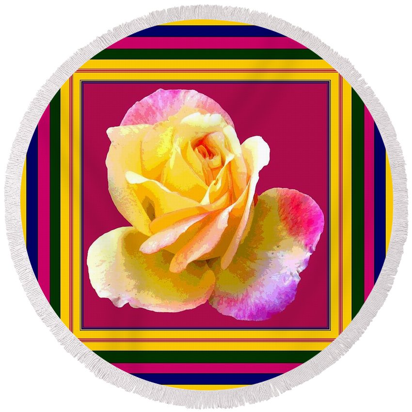Computer Graphics Round Beach Towel featuring the photograph Pink And Yellow Rose by Marian Bell